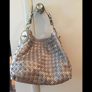 Silver sage gray and iridescent Coach Bag